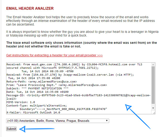paste the header information into the Email Header Analyzer